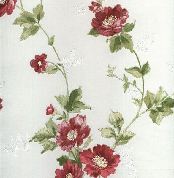 bloemen behang rood 304284