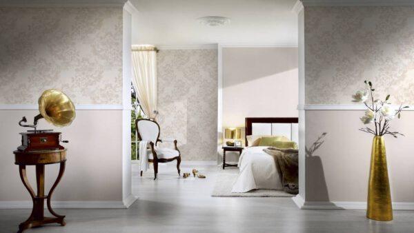 behangpapier bloemen 338643 beige woonkamer