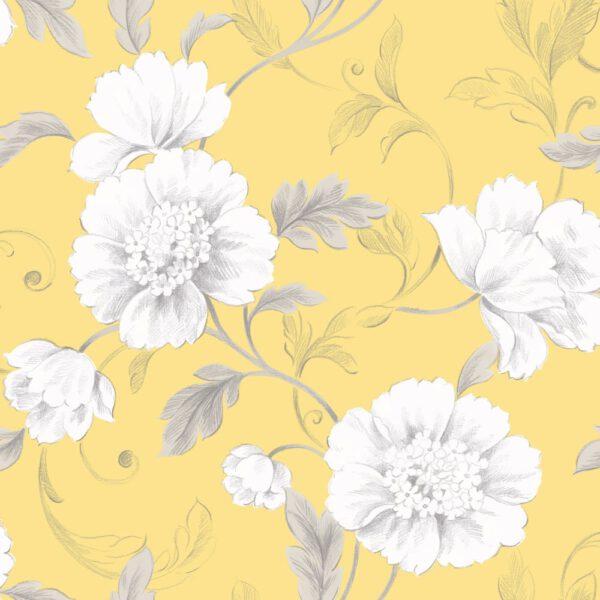 bloemen-behangpapier-geel-226157