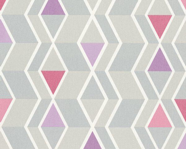 retro-behangpapier-ruiten-grijs-roze-32993-2