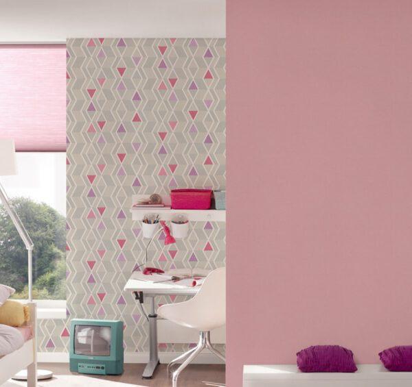 retro-behangpapier-ruiten-grijs-roze-32993-2-slaapkamer