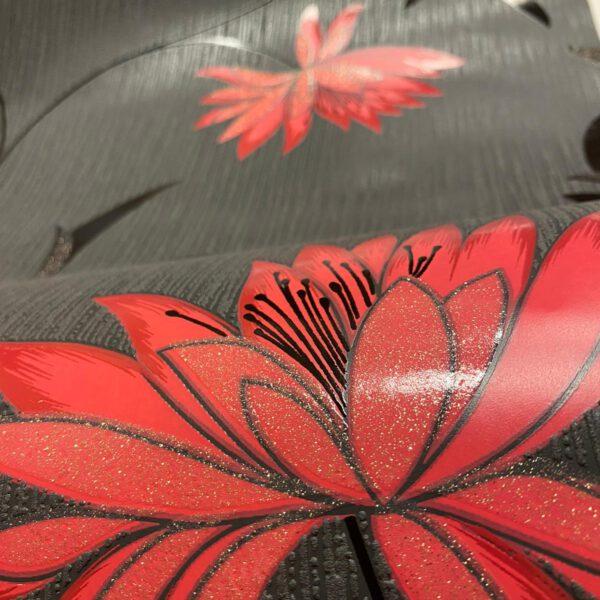 rood-bloemen-behang