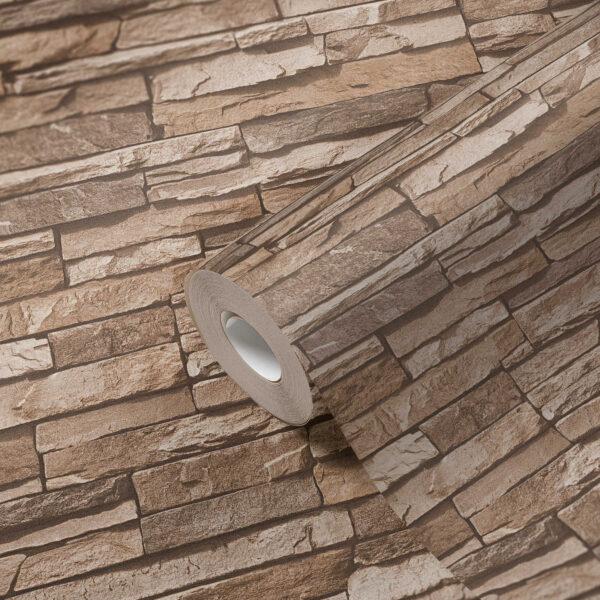 steenbehang-3d-beige-bruin-vlies-952002-living